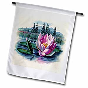 Florene Victorian Images - Victorian Landscape With Trees and Lily Pad - 12 x 18 inch Garden Flag (fl_39594_1)