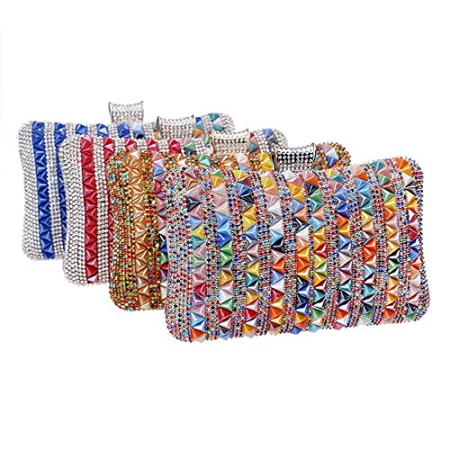 de Vestido mujeres noche Multicolor de las diamantes de 2 de 1 noche Bolso Color lujo de Multicolor Embrague aYfq00I