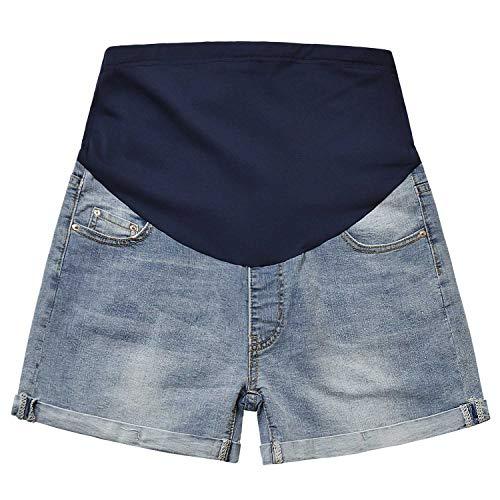 Maternity Denim Shorts Over The Belly Pregnancy Jean Shorts Full Panel Light Blue M