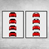 Mazda Miata MX-5 Poster Print Wall Art of the History and Evolution of the Miata Generations (Car Models: NA Miata, NB Miata, NC Miata, ND Miata): Front and Rear Set