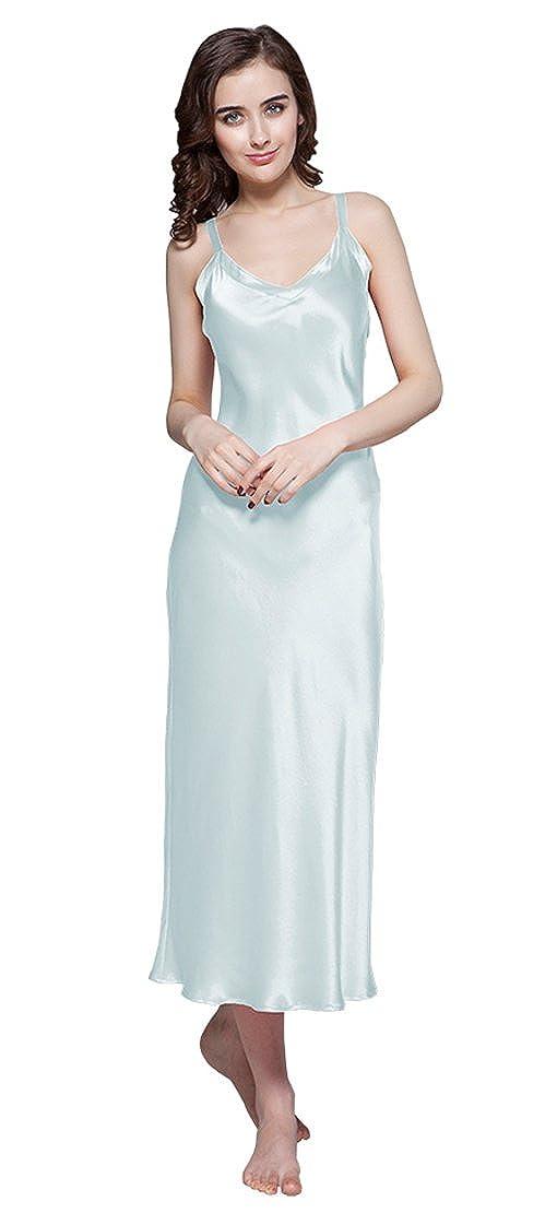 Light Sky bluee LilySilk 100 Long Silk Nightgown Women's Pure Mulberry Silk Sleep Dress 22 Momme