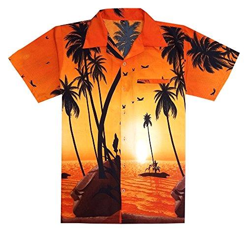 Virgin Crafts Mens Hawaiian Shirt Short Sleeve Big Palm Print Casual Fashion Beach Shirt