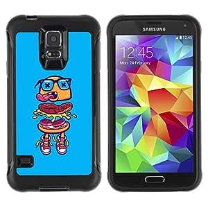 LASTONE PHONE CASE / Suave Silicona Caso Carcasa de Caucho Funda para Samsung Galaxy S5 SM-G900 / hamburger blue glasses fast food street
