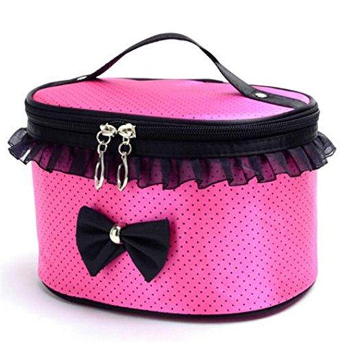 Sunnywill Tragbare Travel Kulturbeutel Make-up Kosmetik Tasche Organizer Halter Handtasche für Frauen Mädchen Damen (Rose rot)