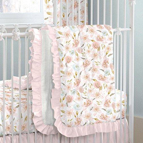 Carousel Designs Pink Hawaiian Floral Crib (Gold Hawaiian Quilt)