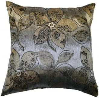 Violet Linen Signature Jacquard Lily Design Throw Pillow, 17 x 17 , Gold Silver
