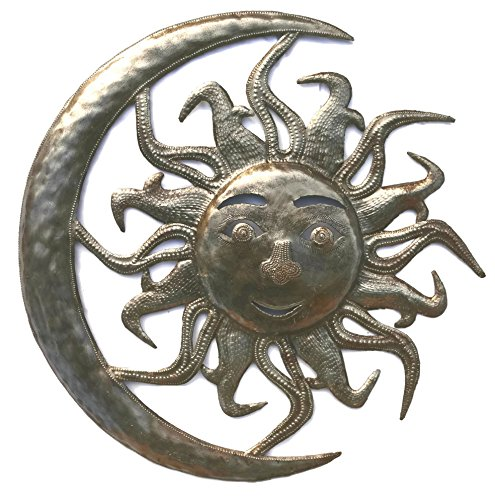 Sun in Moon Wall Sculpture, Outdoor Home Art, Recycled Metal, 15