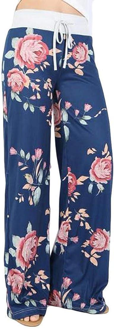 Pantalones Anchos Para Mujer Pantalon Largo Con Estampado De Cintura Alta Comodo Casual Moda Pantalones De Piernas Estampada Elasticos Verano Pants Rectos Amazon Es Ropa Y Accesorios