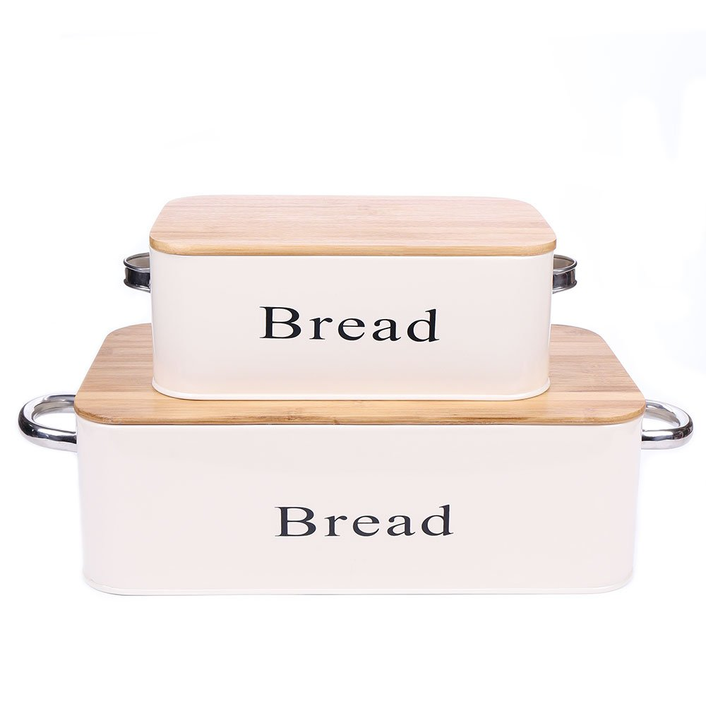 Home by Jackie Inc Cream White Vintage X559 Set of 2 Metal Kitchen Storage Tin Canister Bread box/container/Bin/Home Kitchen Gifts With Bamboo Lid