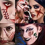 Scar Tattoo Halloween, Zombie Tattoos, Zombie Makeup Kit, Halloween Makeup Kit, Fake Blood Fake Scar Cuts, Vampire Bite Tattoo, Healthy Makeup for Kids, 6 pack(Large)+5 pack(Small),60 pics Scars