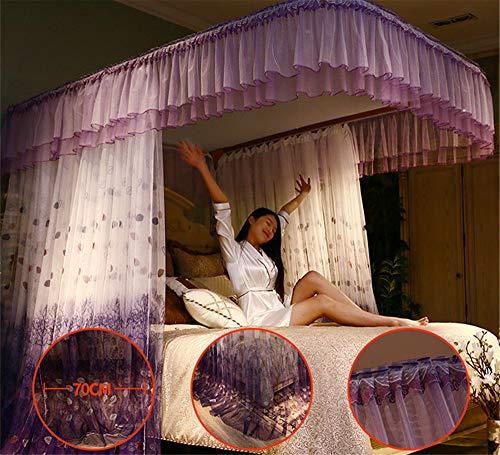 Mosquito net Guide u-Type Floor Stand Mosquito net Three-Door Mosquito net Anti-Mosquito Insect nets encrypted Mosquito net Palace Mosquito net, Purple, 210 180cm by RFVBNM Mosquito net (Image #1)