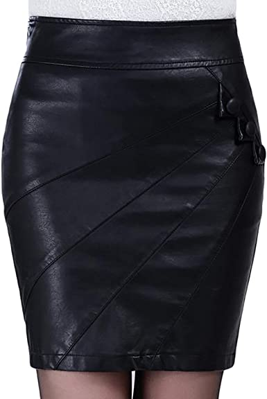 Baymate Mujer Delgado Cintura Alta Minifalda Moda Bodycon Cuero ...