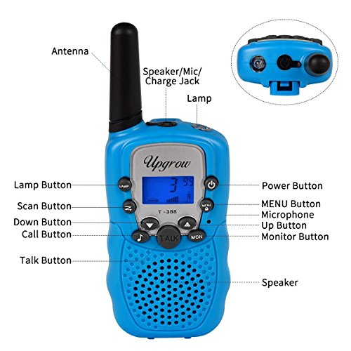 Upgrow Kids Walkie Talkies 22 Channel 0.5W FRS/GMRS Two Way Radios Long Range Handheld Walkie Talky with LED Flashlight for Children (Blue)