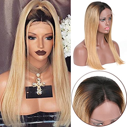 [Miss diva Best Brazilian Remy Hair Lace Wig with Baby Hair Lace Front Human Hair Wigs Silky Straight 1B/27 Ombre Glueless African American Women's Replacement Hair Wigs 14 Inch] (Divas Wigs)