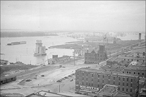 24x36 Poster; Waterfront At Flood Stage, Businesses Shown Are Marquette Cement, S. Karchmer & Company, Memphis Tn - At Waterfront Stores