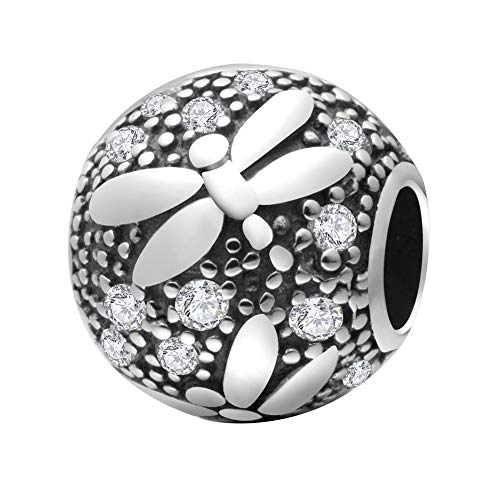 Soulbeads Dragonfly Clear CZ Charms 925 Sterling Silver Insect Animal Ball Beads Fits European Bracelet