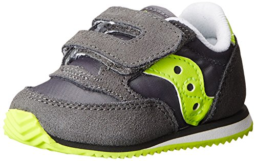Saucony Boys Baby Jazz Crib Sneaker (Infant),gris/Citron,2 M US Infant