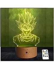 RecontraMago LED tafellamp decoratieve houten basis geschenk voor kinderen model 2021 (Goku)