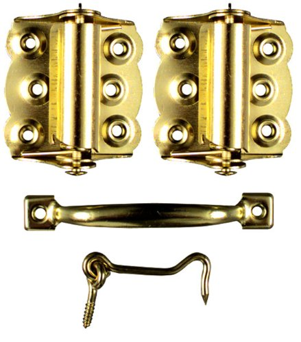 Spring Hinges Brass (Ideal Security SK922 Screen Door Hardware Set 2 Spring-Loaded Self-Closing Hinges, Handle, Hook and Eye Brass)