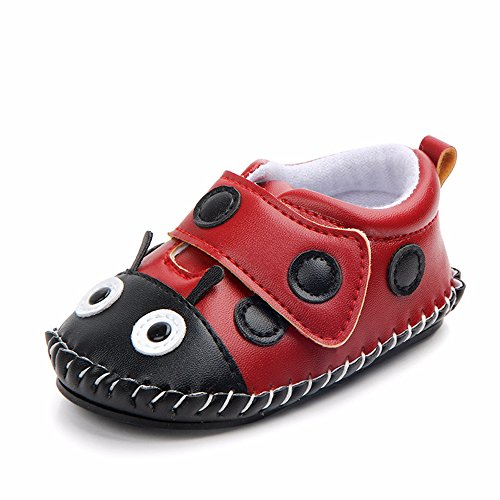 Lidiano Baby Non Slip Rubber Sole Cartoon Walking Slippers Crib Shoes Infant/Toddler (12-18 Months, Ladybug)