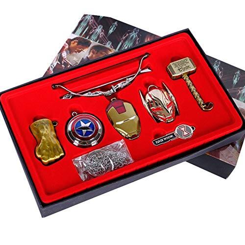 FAWareHouse Marvel Vintage Toys Avengers Infinity War Thanos Glove Infinity Gauntlet Keychains Iron Man Mask Hulk Cosplay Keychain Kids Gift -