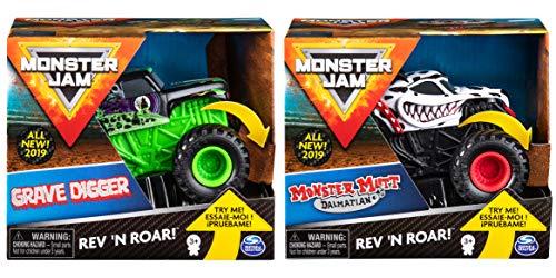 Monster Jam Rev 'N Roar (2-Pack) (Grave Digger & Monster Mutt Dalmatian)