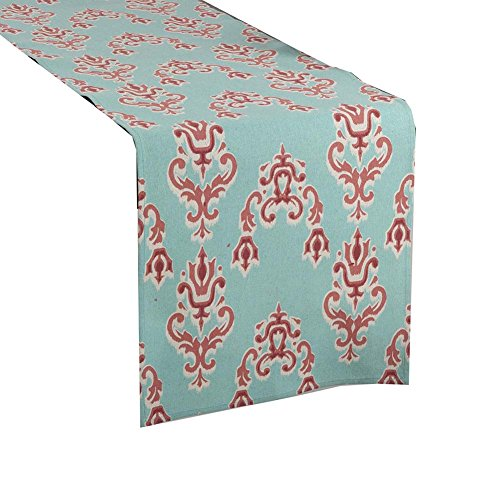 Sardinia Ikat Design Linen Blend Table Runner, Duck Egg Blue