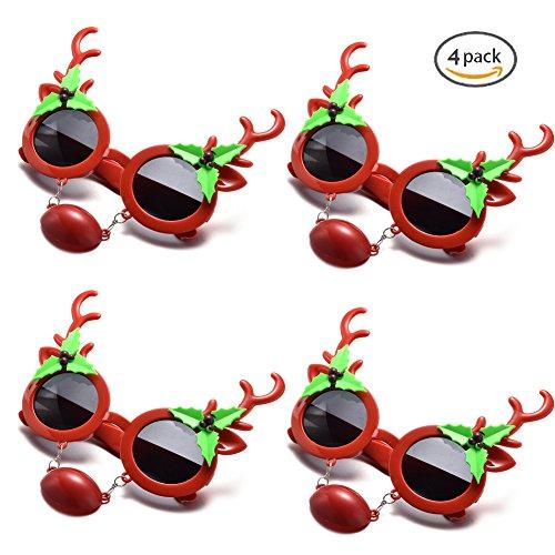 Merry Christmas Funny Shape Sunglasses Set, Multi Packs (4-Pack Nose - Christmas Sunglasses