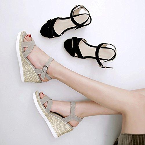 8cm Da nuova dita donne black pendio basso Moda Alla primavera piedi Donna spesso tacchi dei Sandali Ajunr le tacchi le scarpe UpqwZ1