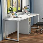 """Little Tree 78"""" Extra Large Double Workstation Computer Desk for Two Person, Simple Modern Style Office Desk with Storage (White Finish)"""