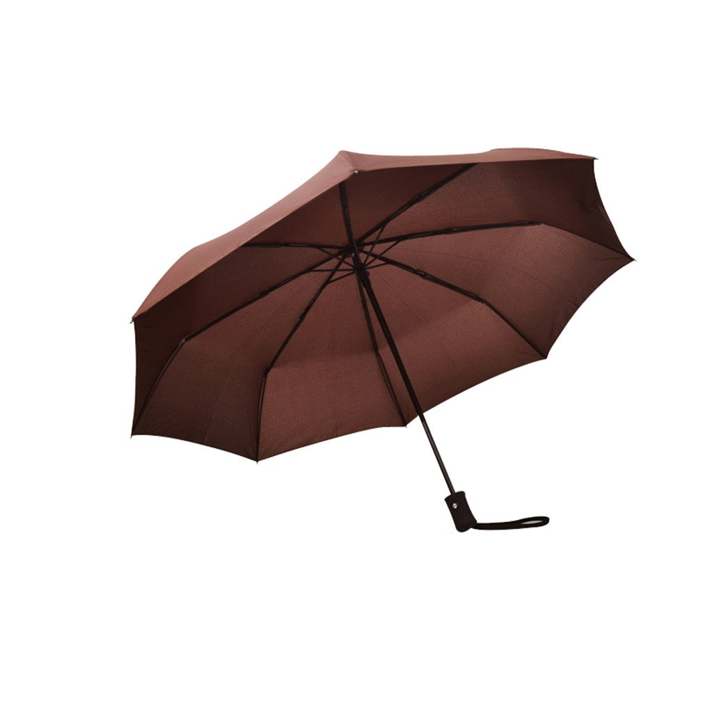 Guoke Simple Solid Color Full Automatic Folding Umbrella With Two Men And Women Fine Rain, Rugged Windproof Umbrellas, Brown