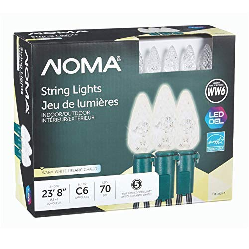 NOMA String Lights | Perfect for Patio or Holidays | C6 LED Classic White Bulbs | Outdoor & Indoor | 70 Light Set | 23.8 Foot Strand | 5 Year Warranty