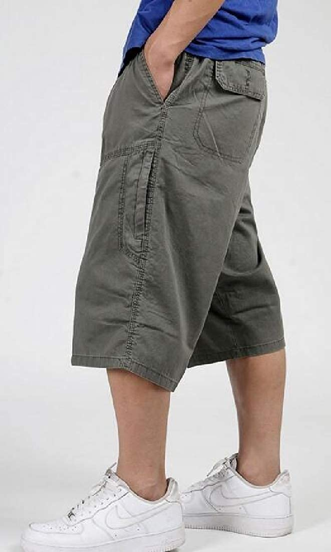 JYZJ Mens Multi-Pockets Plus Size Loose Cotton Hip Hop Big and Tall Summer Cargo Shorts