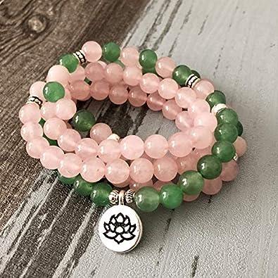 108 Cuentas De Oración Rosa Cuarzos Verde Aventurina Pulsera Amor Suerte Collar Y Pulsera Rosa Pulsera con Encanto De Loto