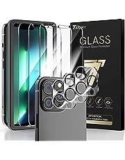 TAURI [3 + 3 opakowanie kompatybilne z iPhone 13 Pro, 3-pak ochraniacz na obiektyw aparatu + 3-pak szkło hartowane osłona ekranu z ramą wyrównującą łatwa instalacja wielokrotna obronna HD przezroczysta bez pęcherzyków