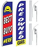 Car Auto Dealer Swooper Flutter Feather Flags & Poles 2 Pack-Best Buys-Pre owned