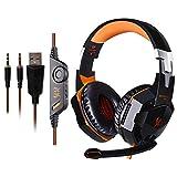KOTION EACH G2000 Over-ear Stereo Bass Gaming Headphones Headset Earphone with Mic & LED Light for PC Game Orange