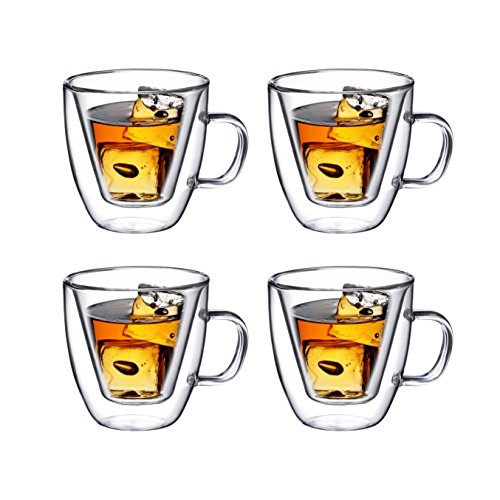 Double Wall Espresso Glass with Handle, for Tea, Whiskey, and More, By Bruntmor (4 oz, Set of 4) by Bruntmor (Image #5)