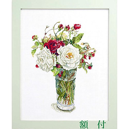 クロスステッチ 刺繍キット(刺しゅうキット)フジココレクション 【バラとワイルドストロベリー】 額付きセット B07CVC9LT2