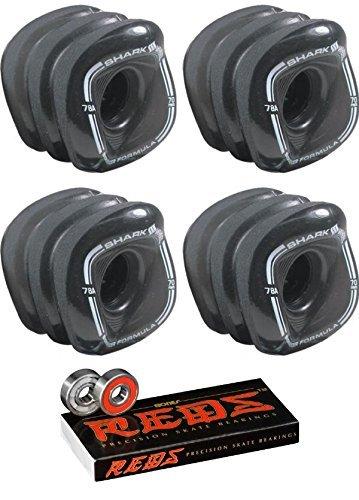 70 mm Shark Wheels Sidewinder wheels with Bones Bearings – 8 mm Bones Reds Precisionスケート定格ベアリング – 2アイテムのバンドル   B06XQXDD72