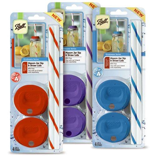 Jarden Home Brands Ball Mason Jar Regular Sip and Straw Lids (4 Lids 4 Straws) ()