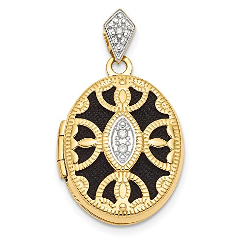 14k Yellow Gold Textured Diamond Oval Photo Pendant Charm Locket Chain Necklace That Holds Pictures Fancy Fine Jewelry Gifts For Women For -