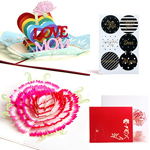 Mother's Day Greeting Card, 3D Pop Up Birthday Cards, Handmade Thank You Card for Mom Grandmom, with Envelope and Thanks You Stickers - 2 Pack (I Love Mom & Carnation) (Card Occasions Kit Making)