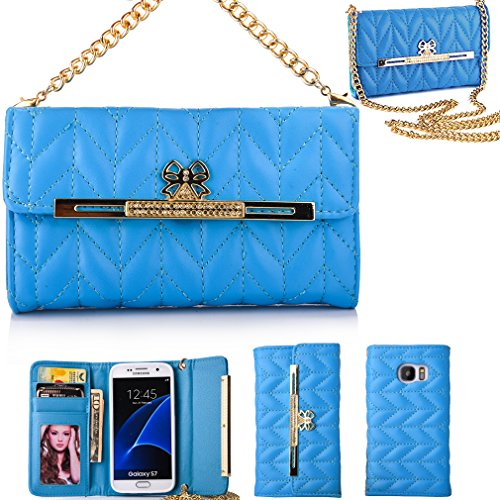 ACO-UINT Diamond Bowknot Rhombus Magnetic Snap Pattern PU Leather Wallet Case,S7 Case,Galaxy S7 Case,S7 Wallet Case,Folio Flip Hangbag Purse Cover Case with Metal Chain for Samsung Galaxy S7[Blue]