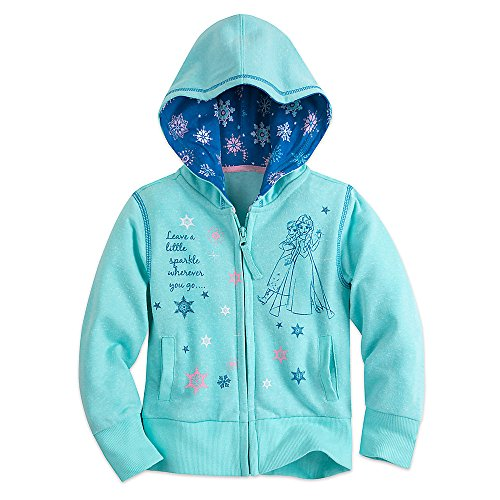 Screen Print Full Zip Sweatshirt (Disney Frozen Zip Hoodie for Girls Size 4 Blue)