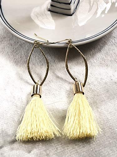 Chandelier Yellow Silk Tassel Earrings