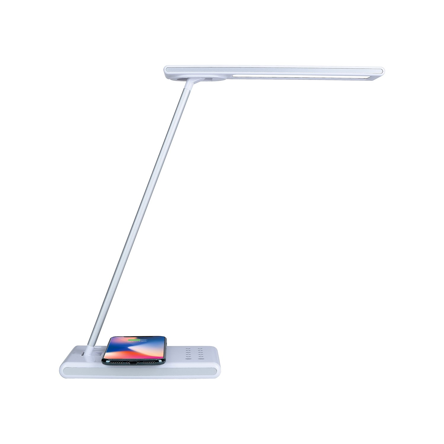 White Dimmable LED Light Desk Lamp with USB & Wireless Charging Ports – Adjustable Brightness & Color Temperature Bulb - Multi Directional Lighting – Energy Efficient by Dependable Direct