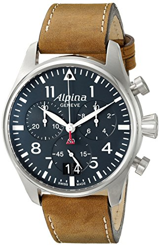 Alpina Men's AL-372N4S6 Startimer Pilot Chronograph Big Date Analog Display Swiss Quartz Brown Watch
