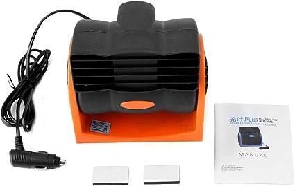 Ventilador Giratorio de Ventosa de succi/ón USB 360 /° 12V // 24v Sunflowerany Ventilador el/éctrico de una Mano para autom/óvil para cami/ón Negro