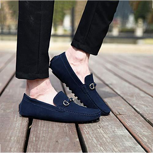 Redondeado en holgazán conducción Hecho de Barco Zapatos Puntada resbalón Hombre a Mocasines Zapatos Informal Primavera otoño Mano Cuero Pisos Azul wTgF8q
